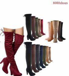 Women#x27;s Pull Up Almond Toe Over The Knee Flat High Heel Boots Size 5.5 10 NEW $26.39