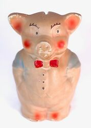 Antique Chalkware Piggy Bank 5 - Pig With Bow Tie And Vest Vintage