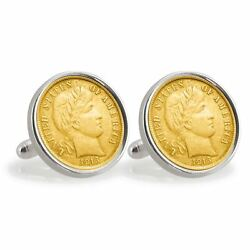 New Gold-layered Silver Barber Dime Sterling Silver Coin Cuff Links 12799