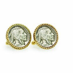 New 1913 First-year-of-issue Buffalo Nickel Rope Bezel Coin Cuff Links 12721