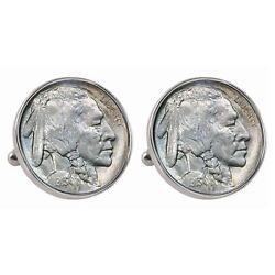 New 1913 First-year-of-issue Buffalo Nickel Bezel Coin Cuff Links 13531