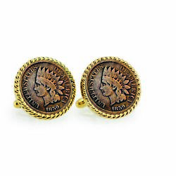 New 1859 First-year-of-issue Indian Head Penny Rope Bezel Coin Cuff Links 12731