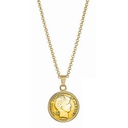 New Gold-layered 1800and039s Silver Barber Dime Coin Pendant 18 Chain 13600