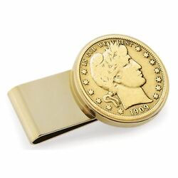 New Gold-layered Silver Barber Half Dollar Stainless Steel Coin Money Clip 13201