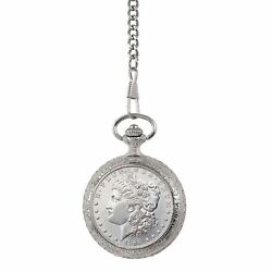 New Uncirculated 1800and039s Morgan Silver Dollar Coin Pocket Watch 13961