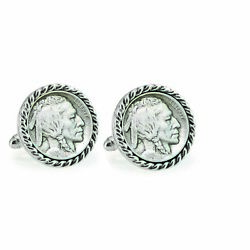 New 1913 First-year-of-issue Buffalo Nickel Rope Bezel Coin Cuff Links 12701