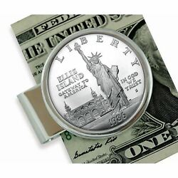 New 1986 Statue Of Liberty Silver Dollar Sterling Silver Coin Money Clip 13673