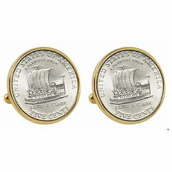 New American Coin Treasures 2004 Keelboat Nickel Bezel Coin Cuff Links 13557