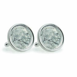 New 1913 First-year-of-issue Buffalo Nickel Sterling Silver Coin Cufflinks 12778