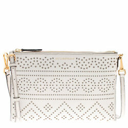 Burberry Women's Laser-Cut Lace Grained Clutch Bag Ivory 4004108