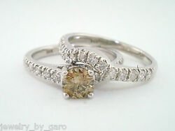 Fancy Brown Champagne Diamond Engagement Ring And Wedding Band Sets 14k White Gold