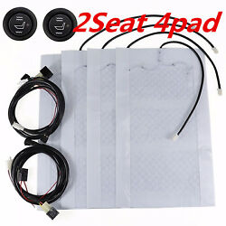Universal Carbon Fiber Heating Pads Car 2-Seats Heater Kit High-Low Switch 12V