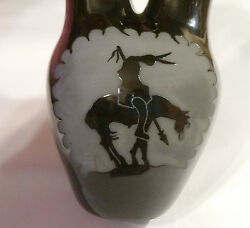 San Juan Pueblo Pottery Maria Adelicia Warrior Horse Vase Wedding Signed