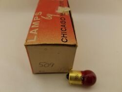 Box Of 10 Chicago Miniature 509 Cm509 Red Globe Lamps Light Bulbs 24v 0.18a