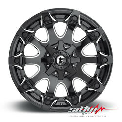 20x12 Fuel Battle Axe D578 Black Milled Wheels Fits Chevy GMC 2500 F250 88 97