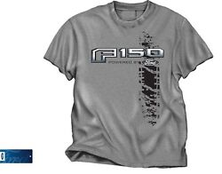 Powered by Ford T-Shirt - Gray w F150 Pickup Truck Logo  Emblem (Licensed)