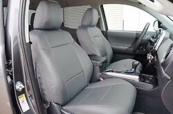 TOYOTA TACOMA SPORT TRD 09 15 GREY S.LEATHER CUSTOM MADE FIT FRONT SEAT COVER $149.00