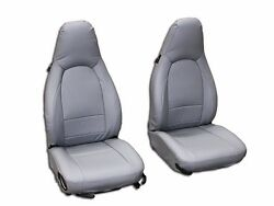 PORSCHE BOXSTER 1997 2004 GREY S.LEATHER CUSTOM MADE FIT FRONT SEAT COVER $149.00