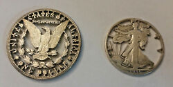 Cut Morgan Silver Dollar And A 1936 Walking Liberty Half Genuine Coins