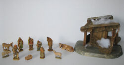 Vintage Anri Kuolt 3 Nativity Set, 11 Figurines And Stable Great Condition