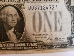 1928 A One Dollar Bill Silver Certificate Blue Seal Funny Back Paper Money 1