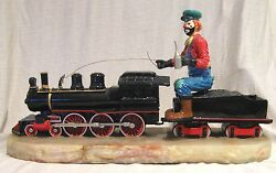 Huge Ron Lee 20 Hobo Clown Riding A Train Engine Signed By Ron Lee Low Le