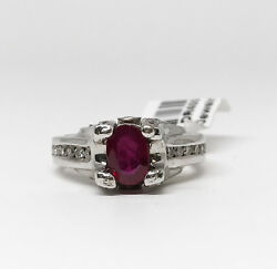 14k White Gold Round Cut Ruby And Diamond Ring