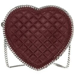 Stella McCartney Women's Falabella Quilted Heart Faux Leather Bag Burgundy