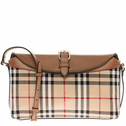 Burberry Women's Horseferry Check Small Leah Clutch Bag Honey Tan 3942124
