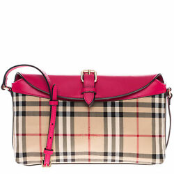 Burberry Women's Horseferry Check Small Leah Clutch Bag Beige Pink 3983061