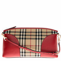 Burberry Women's Horseferry Check and Leather Clutch Honey Parade Red 3992861