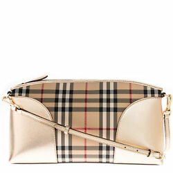 Burberry Women's Horseferry Check and Leather Clutch Bag Gold 3997068