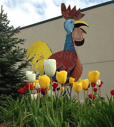 70 Recycled Metal Funky Rooster Yard Art Garden Decor