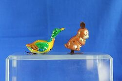 Two Vintage Japanese Tin Litho Wind Up Toys Buck Bunny 1960's