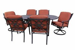 Harmony Collection 4 Dining Chairs 2 Swivel Rockers And Le Terrace Oval Table