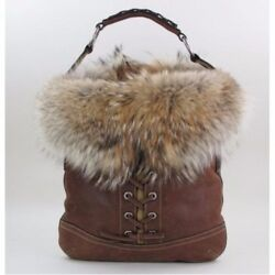 COACH LIMITED EDITION WINTER LACE LEATHER COYOTE FUR TRIM DUFFLE TOTE BAG PURSE