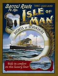 Isle Of Man Steam Ocean Liner Ship Boat Sea Small Metal Tin Sign Picture