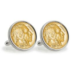 New Gold-layered 1913 First-year Buffalo Nickel Sterling Silver Coin Cuff Links