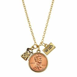 New American Coin Treasures Wishing Well Penny Charm Gold Tone Necklace
