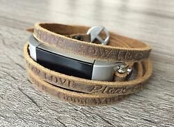 Handmade Brown Leather Band Embossed Inspirational Words For Fitbit Charge 2