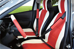 Unnie Universal White/red Front Seat Covers Steering Wheel And 2 Seat Belt Covers
