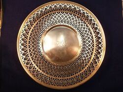 Beautiful Vtg Sterling Silver Platter By And Co Monogrammed Amw Awm