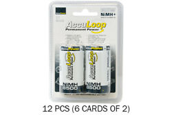 12-pack D Acculoop Nimh Rechargeable Low Discharge Batteries 8500 Mah