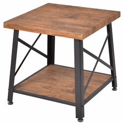 Wood Coffee Table Cocktail End Table Square Metal Frame w Storage Shelf New