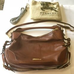 Authentic Burberry Purse Cross Body Bag Pebbled Brown 8 Buckle 2 Straps Dust Bag
