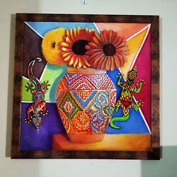 Oil In Paintings Art,vase,aztec,lizards,mexican,pottery