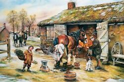 Holiday Farrier Scene Clydesdale Shire Blacksmith Horseshoer Christmas Cards