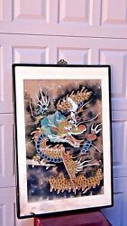 Antique Japanese Watercolor On Paper Flying Dragon Scroll Paintingframed.