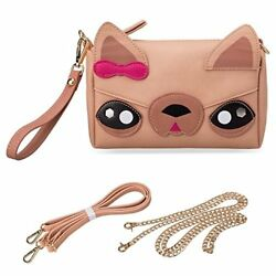 Cute Animal Dog Puppy Face Purse for Girls Teens Women 3 Detachable Straps