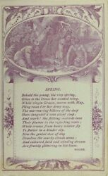 1880's Native American Indians Engraved Summer Poem Moore Victorian P54